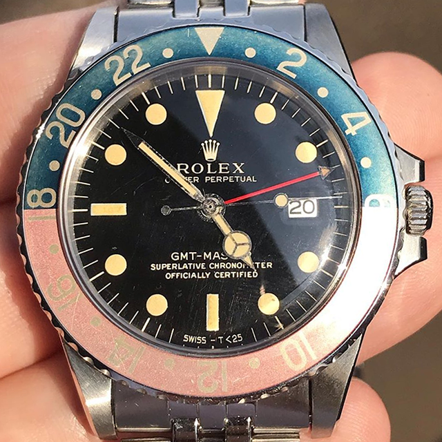 ROLEX GMT Ref.1675 gilt with creamy patina lumes