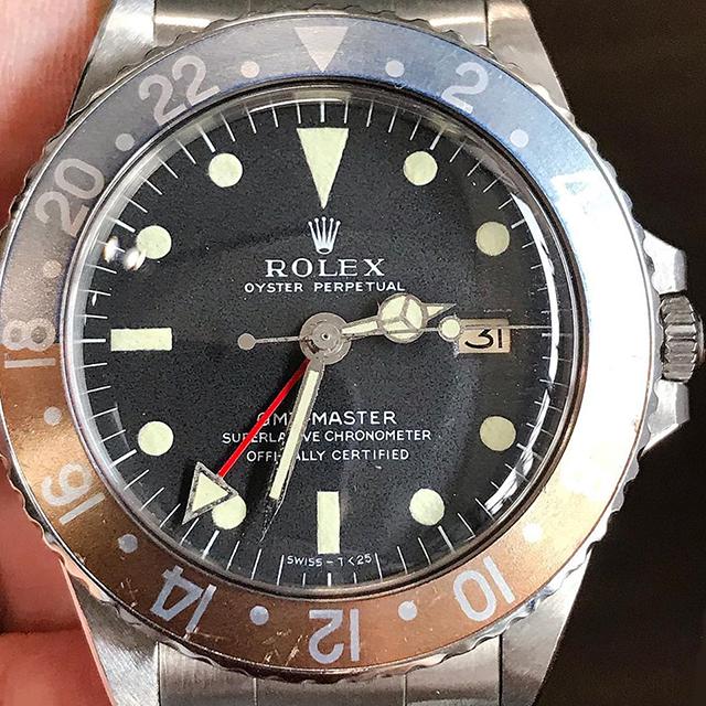 ROLEX GMT Ref.1675 Long E Zinc Sulfide, serial 1.9m